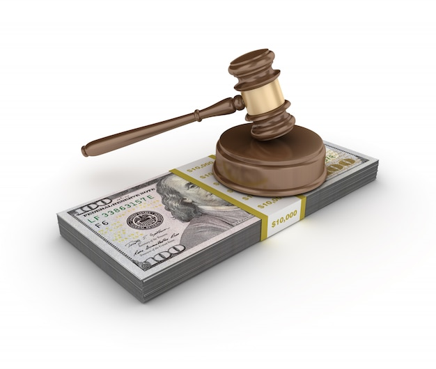 Legal gavel with one hundred dollar package