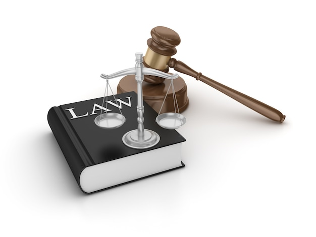 Legal gavel with weight scale and book
