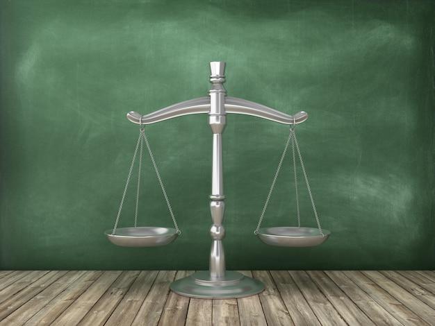 Правовая шкала веса на фоне классной доски