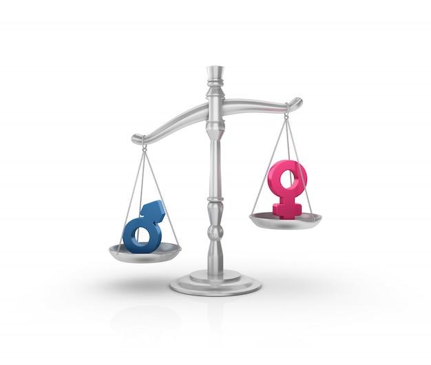 성별 기호가있는 법적 체중계