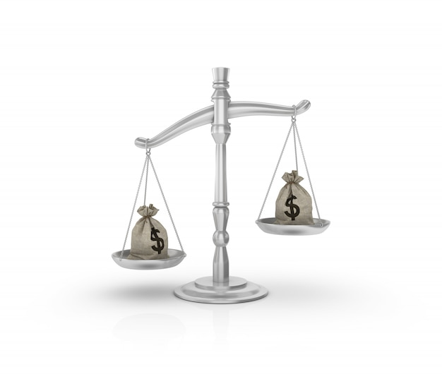 Legal weight scale with money sack of dollars