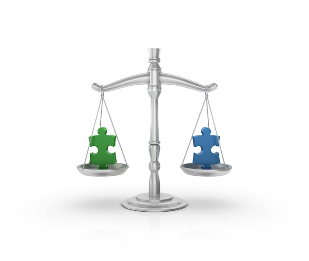 Legal weight scale with puzzle jigsaw pieces