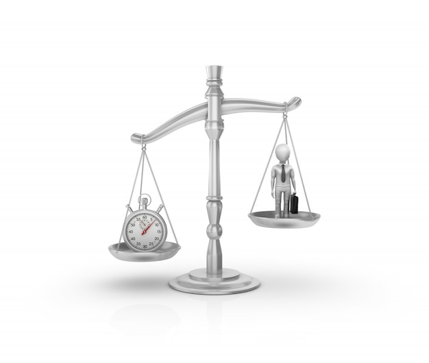 Legal weight scale with stopwatch and cartoon business person