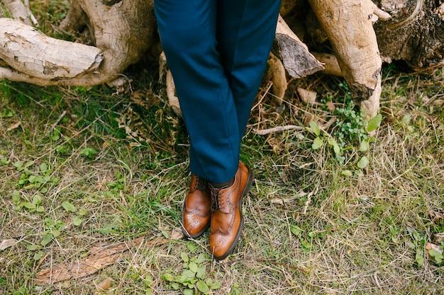 青いスーツと乾いた草のクローズアップに立っている革の茶色の靴の男の足