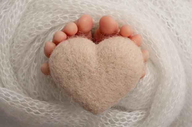 生まれたばかりの赤ちゃんの足、灰色の白い色の柔らかいニットの毛布、ニットの灰色の白いハート、黒と白のスタジオ写真。高品質の写真