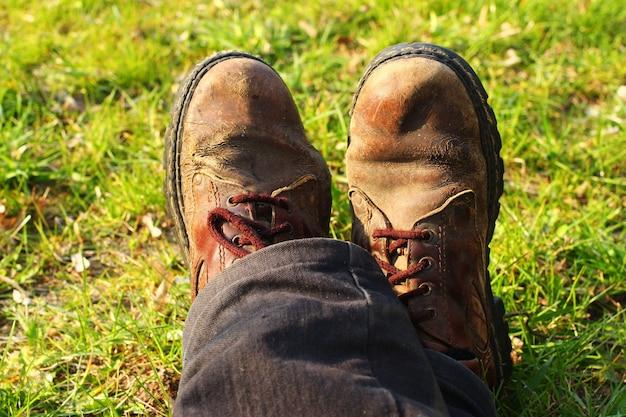 Ноги отдыхающего туриста