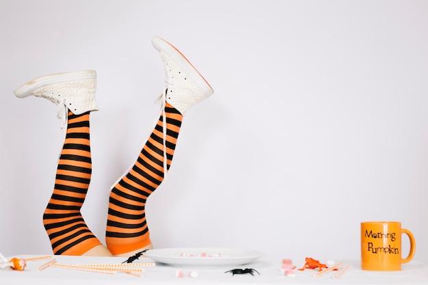 Legs in striped stockings