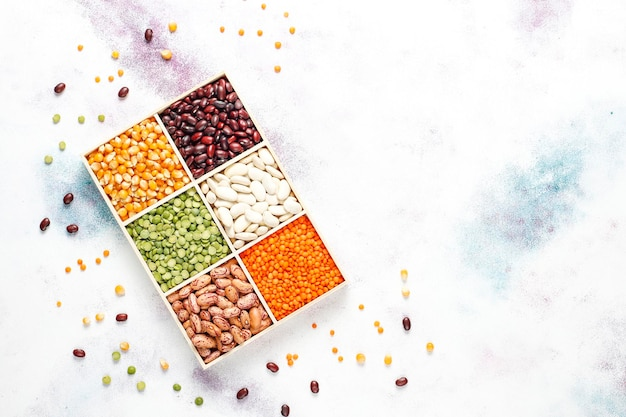 Legumes and beans assortment.healthy vegan protein food.