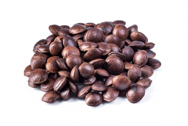 サチャインチまたはインカピーナッツの豆類。白で隔離される乾燥サチャインチナッツ