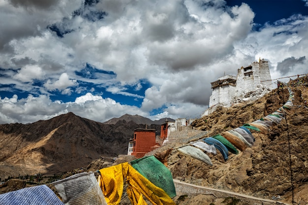 Leh gompa and lungta prayer flags, ladakh