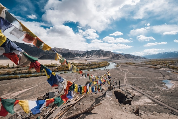 Leh ladak flag for faith in mountain
