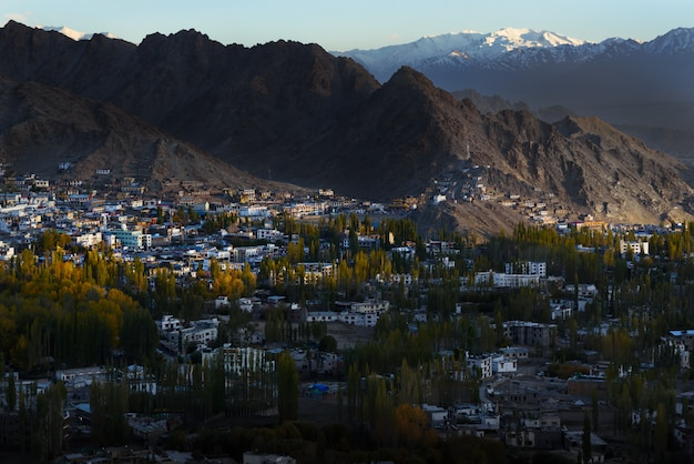 Leh ladakh city scape with sunlight