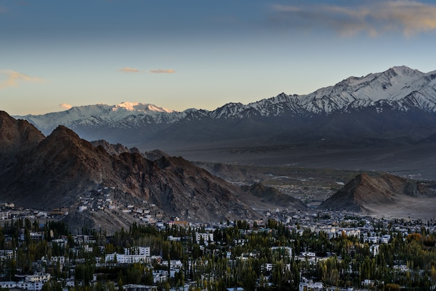 Leh ladakh city scape with sunlight