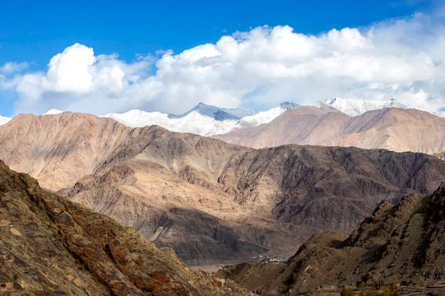 Leh ladakh, himalayas mountain range and snow and cloudy in ladakh region state of jammu and kashmir, northern part of india