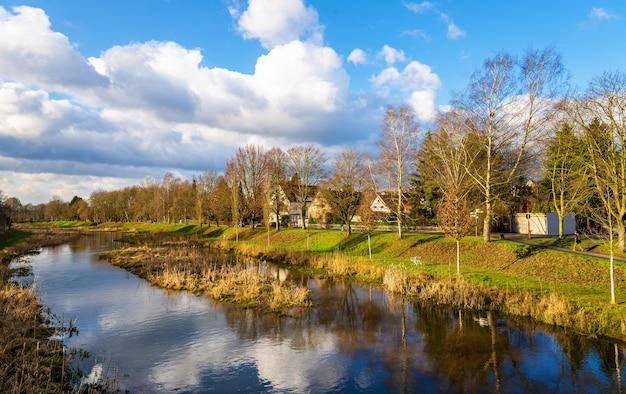 The leine river in gottingen germany, lower saxony