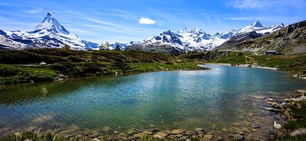 Leisee lake with mt matterhorn, sunnegga, zermatt