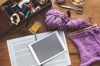 余暇活動編み物の追求の追求の概念