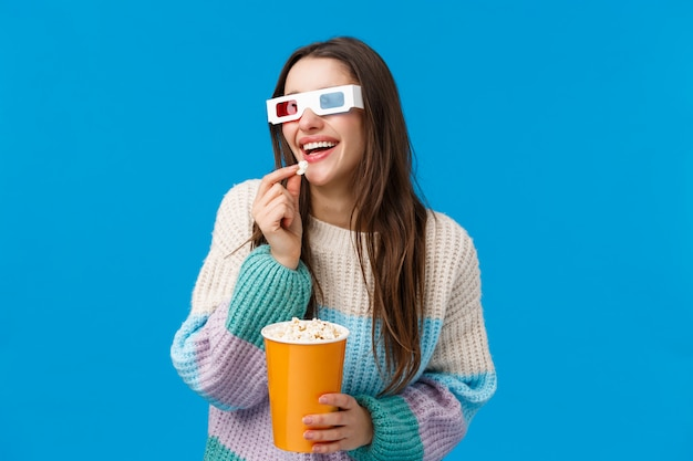 Leisure, fun and people concept. attractive happy smiling brunette, female student in sweater