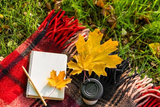 Отдых с теплым пледом и чашкой кофе в осеннем парке. осеннее настроение и душевное состояние.