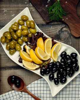 Lemon , basil and olives