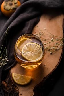 Lemon in beverage concept top view