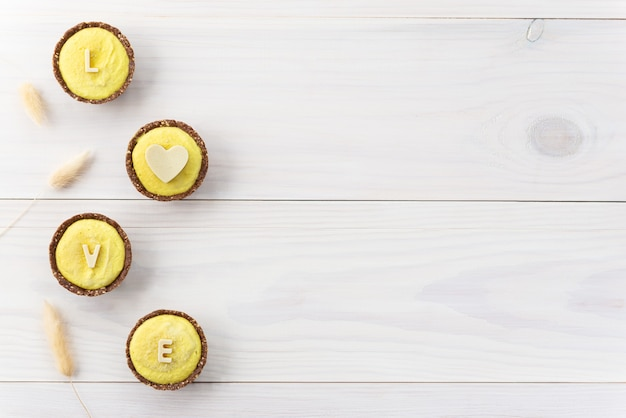 Lemon cashew cakes with the word
