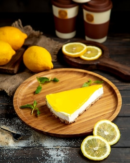 Lemon cheesecake on the table