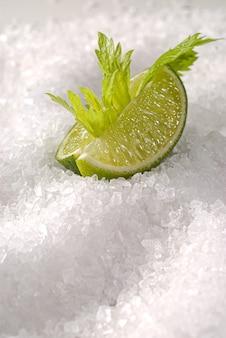 굵은 소금 위에 레몬을 자른다.