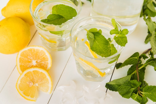 Lemon drink with mint in glasses