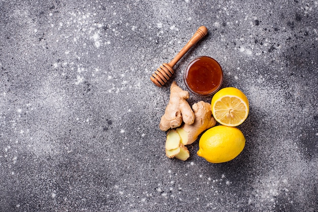 Lemon, ginger and honey. natural cough and flu remedies.