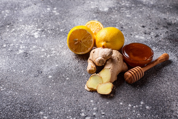Lemon, ginger and honey. natural cough and flu remedies.