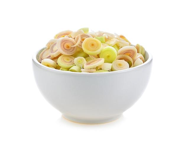 Lemon grass in a white ceramic bowl