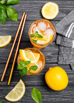 Lemon ice tea with mint