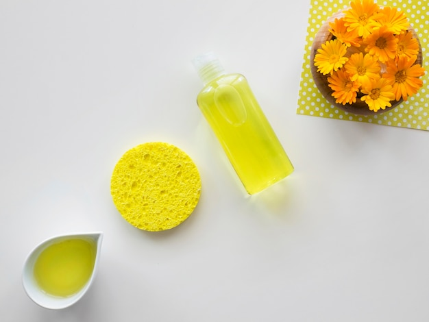 Lemon items beauty and health spa concept