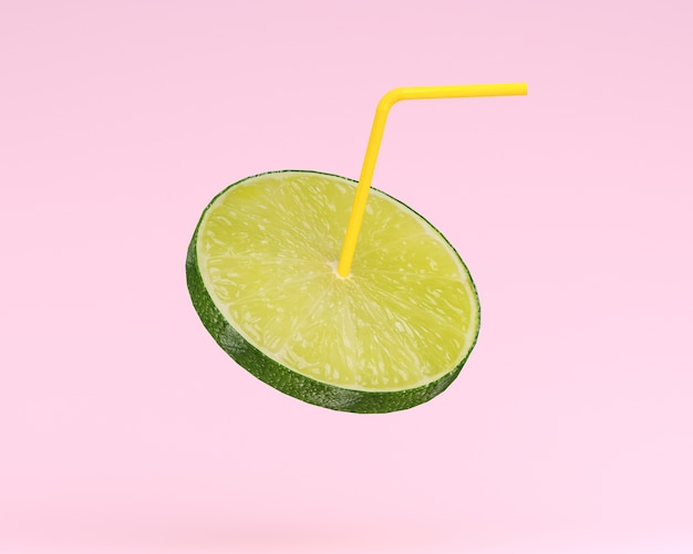 Lemon juice, lime slice with straw