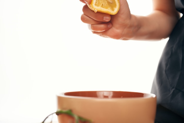 레몬 주스 샐러드 재료 주방 요리
