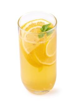 Lemon juice with honey isolated on a white background.