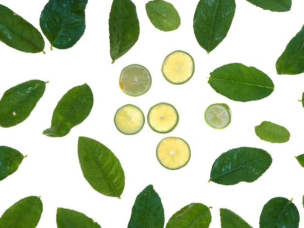 Lemon and leaves isolated on white