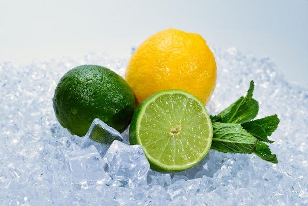 氷の上にレモン、ライム、ミント。