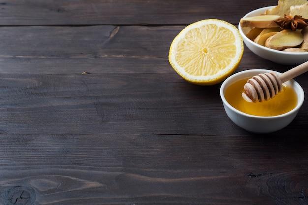 Lemon liquid honey and ginger.