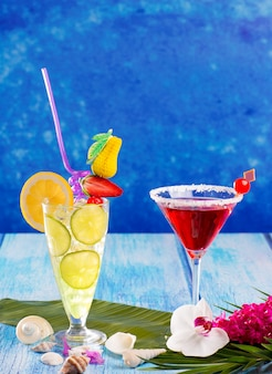 Lemon mojito and red margarita cocktails