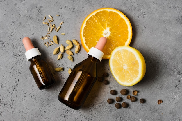 Lemon and oils for healthy and relaxed mind