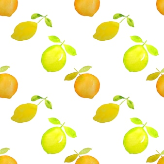 レモンオレンジの柑橘系の果物の水彩画のシームレスなパターン
