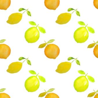 Lemon orange citrus fruits watercolor painting in seamless pattern
