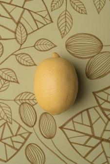 Lemon over outline floral background