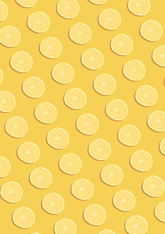 The lemon pattern on the yellow background. minimal flat lay concept.