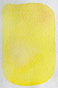 レモン、梨黄色の手描きの抽象的な水彩画の背景フレーム。テキスト、レタリング、コピーのためのスペース。はがきテンプレート。 Premium写真