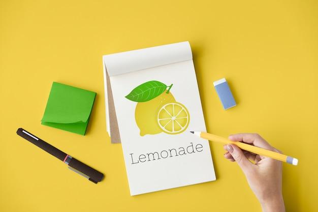 Лимонный освежающий овощной здоровый рисунок
