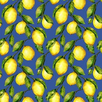レモンのシームレスなパターン水彩の柑橘系の果物の木の繰り返し印刷明るいレモンと青の葉