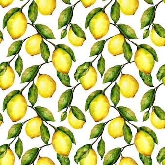 Лимонный бесшовный фон акварель цитрусовых деревьев повторяет печать яркие лимоны и листья на белом